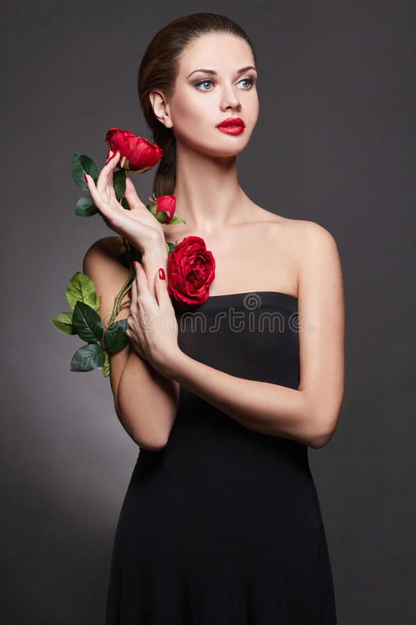 girl with Rose Flower royalty free stock photo
