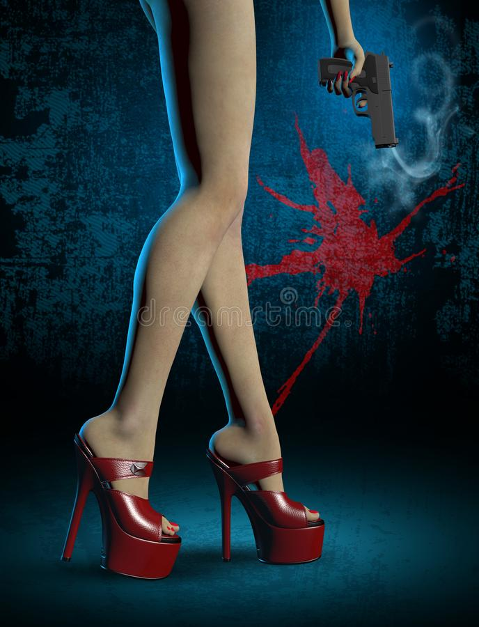 girl`s long legs with red high heel shoes, a gun in the hand vector illustration