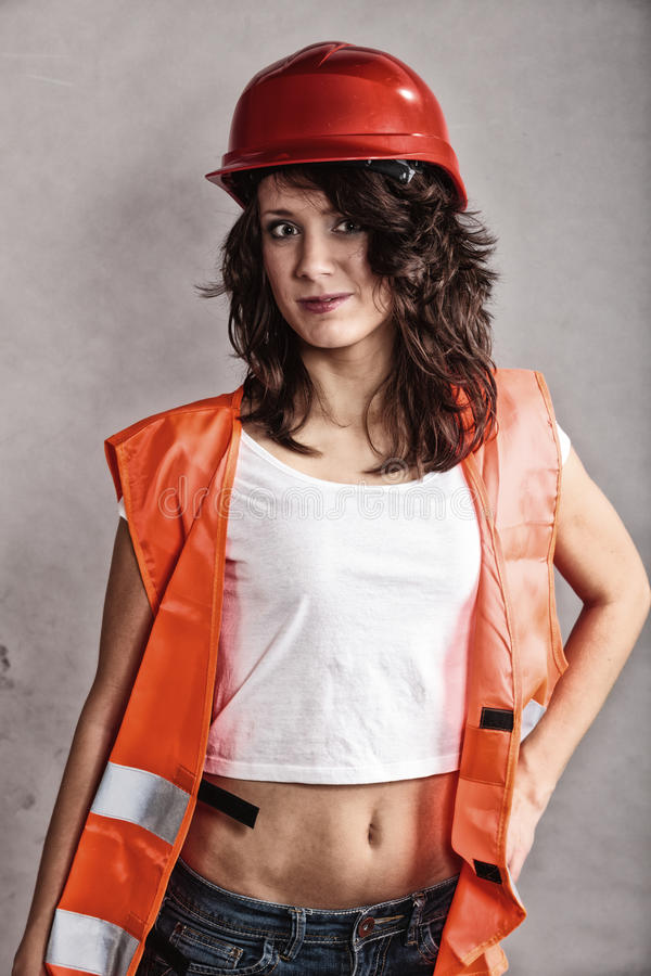 sexy construction girls girl in safety helmet and orange vest stock photo image 6681