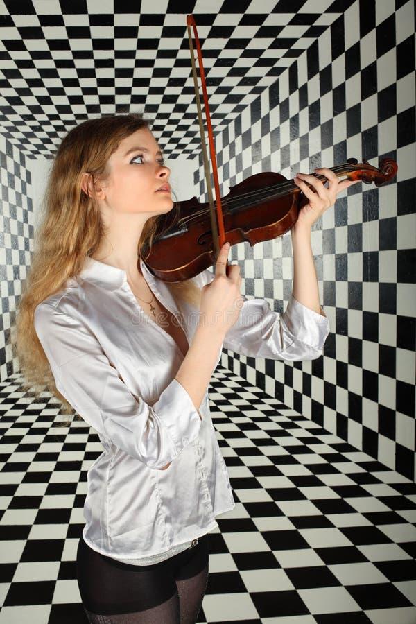 Girl In Shirt Play On Viola Royalty Free Stock Photos
