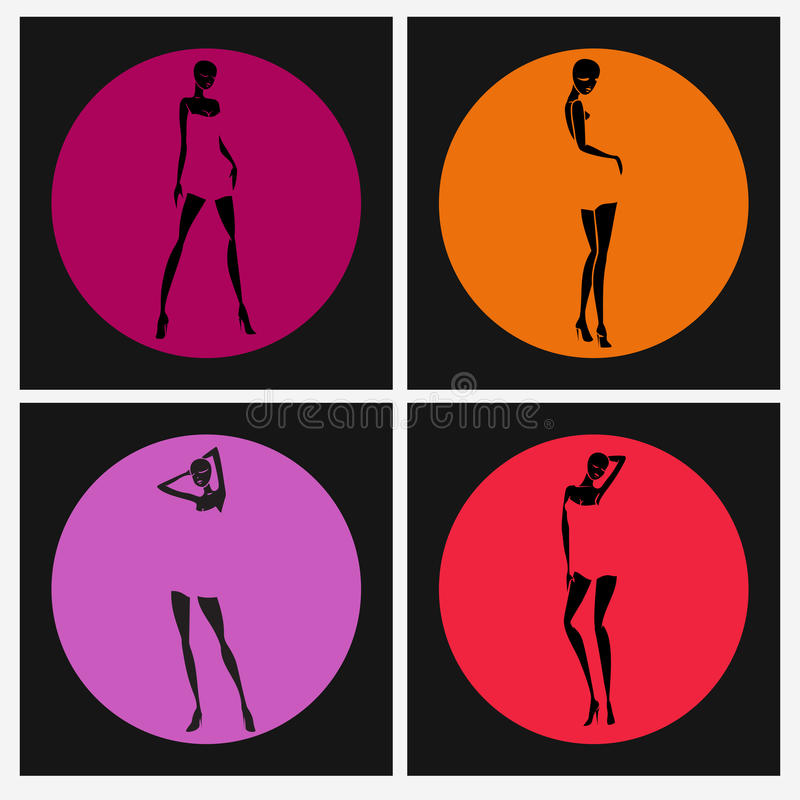 girl silhouette set in colored circles stock illustration