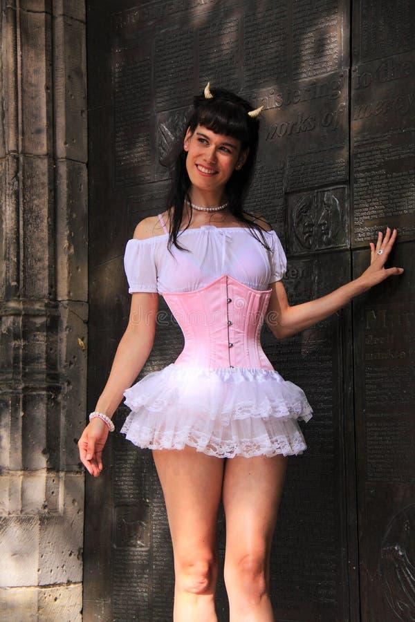 girl street fashion pink corset royalty free stock photos