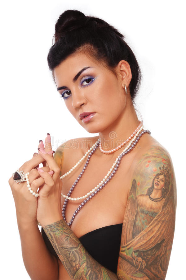 girl with tattoo stock photography