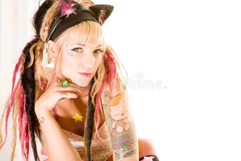 girl with tattoos royalty free stock photography