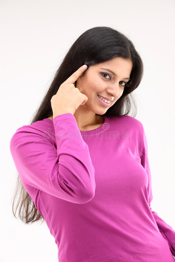 Download Girl Telling To Think Expression Stock Image - Image: 8419673