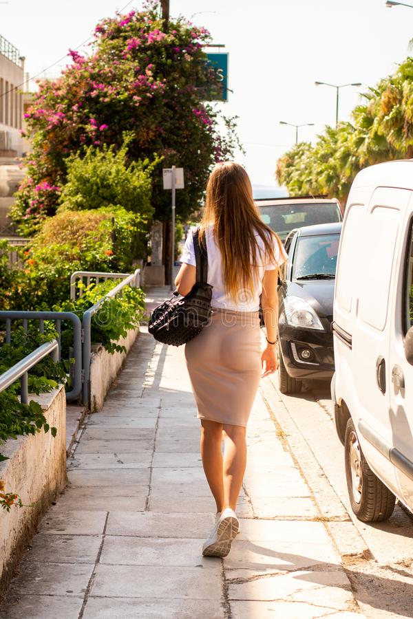 Young girl in a tropical city royalty free stock photography