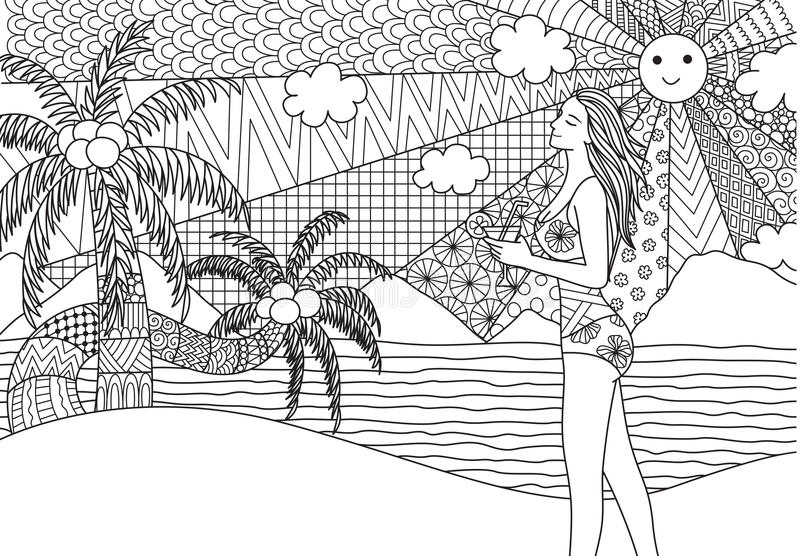 Girl walking along the beach. For adult coloring book page and design element royalty free illustration