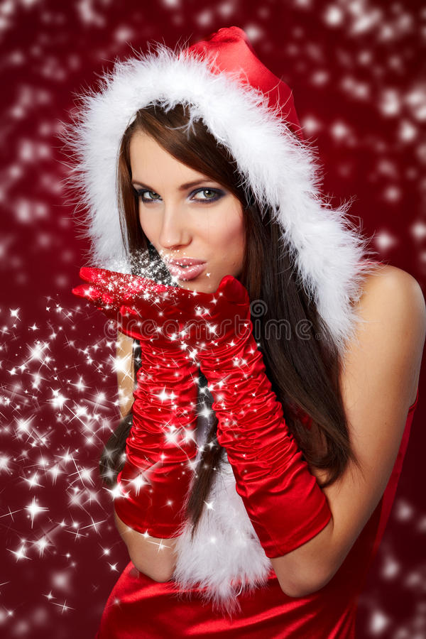 Girl Wearing Santa Claus Clothes On R Royalty Free Stock Photography