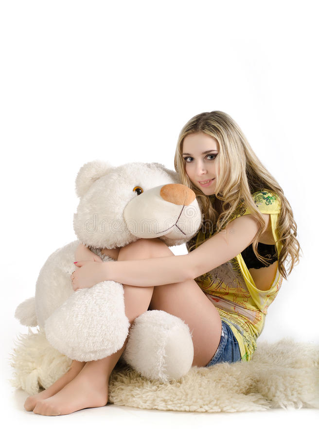 Sexy girl and a white bear