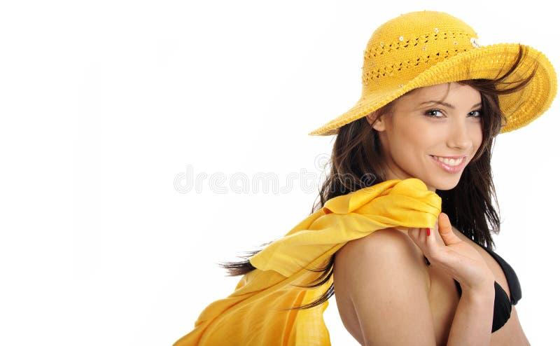 Download Girl In Yellow Hat And Bikini Stock Image - Image: 5812485
