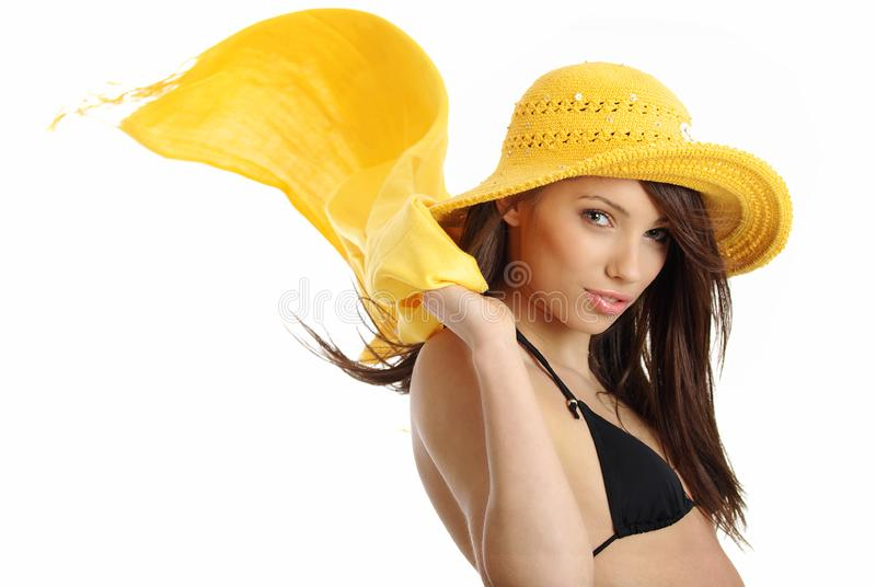 girl in yellow hat and bikini royalty free stock image