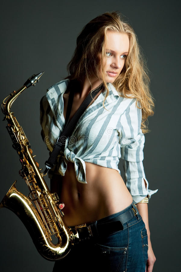 Download Gorgeous Young Pretty Blonde With Sax Stock Image - Image: 11489933