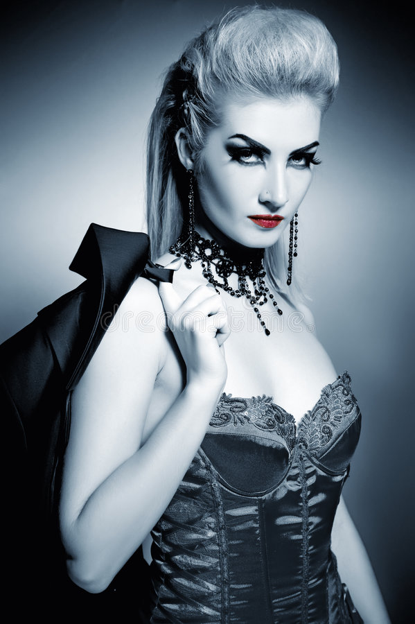 Gothic woman. With creative hairstyle stock image