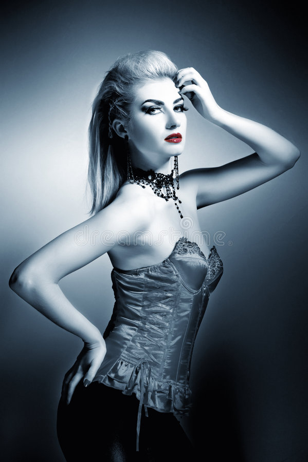 Gothic woman. With creative hairstyle royalty free stock image