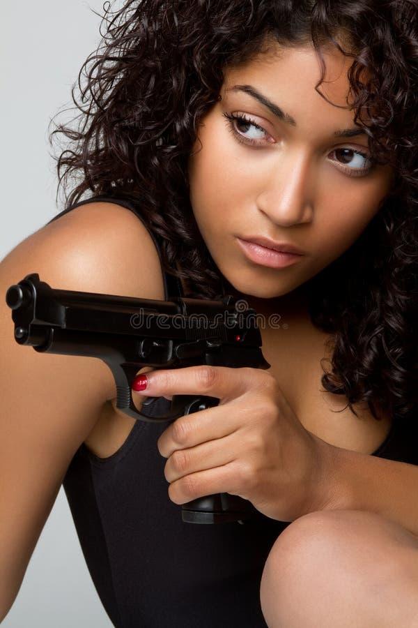 Gun Woman. African american gun woman