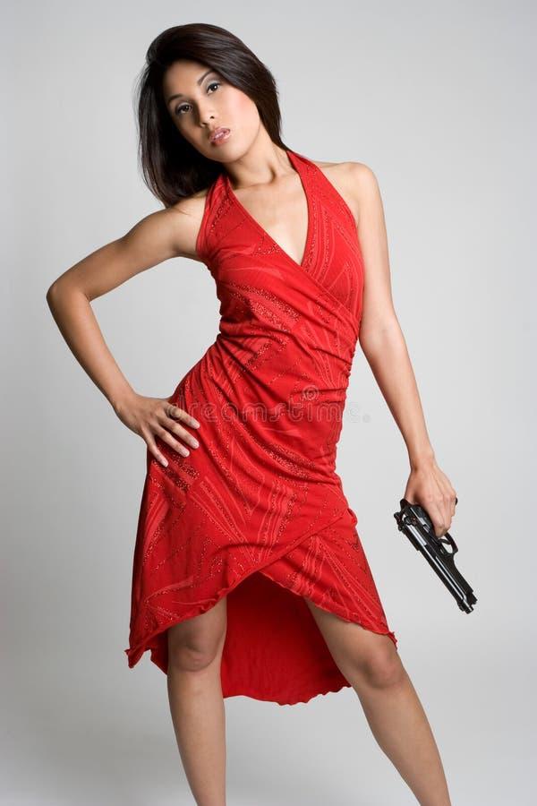 Gun Woman stock images