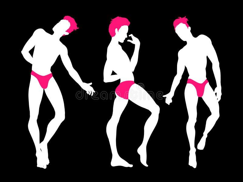 Sexy handsome men silhouettes dancing in underwear, stripper, go-go boy, gay club disco, neon colors, vector illustration. Design vector illustration