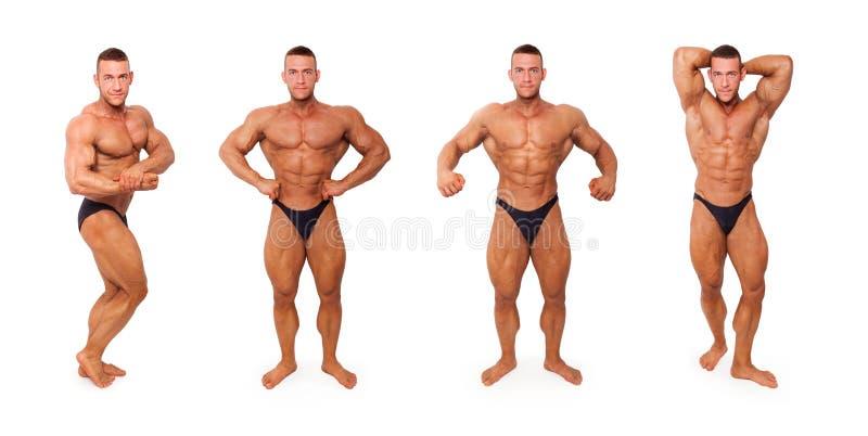 Sexy hemdlose Bodybuilderaufstellung stockbild