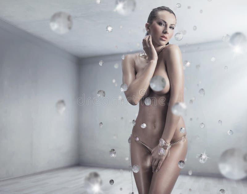 Sexy het overweldigen brunette royalty-vrije stock foto's