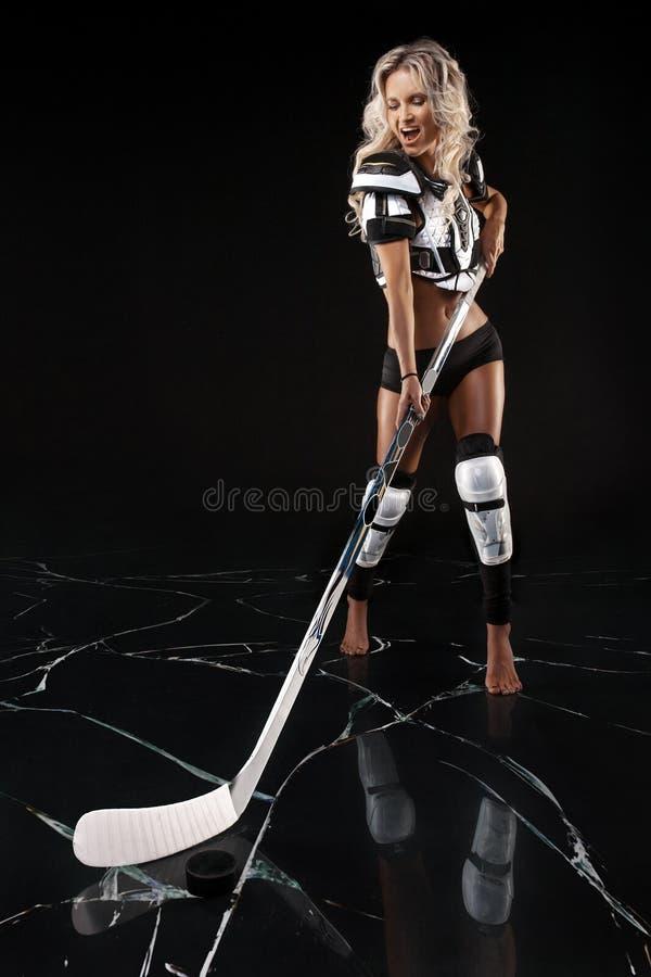 Sexy hockeymeisje royalty-vrije stock foto