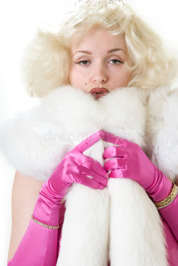 Sexy impersonator die van Marilyn witte bontstole draagt stock fotografie
