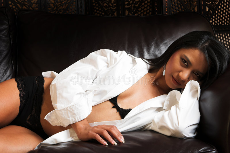 Download Indian woman in Lingerie stock photo. Image of couch, black - 3773142