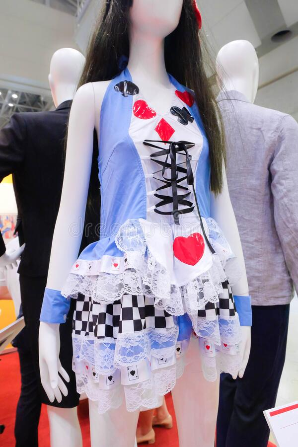 Sexy Japanese maid cosplay dress displayed on a lady mannequin. Cosplay is a popular sub-culture is Japan. Inspired by Alice`s adv. Enture in Wonderland royalty free stock photography