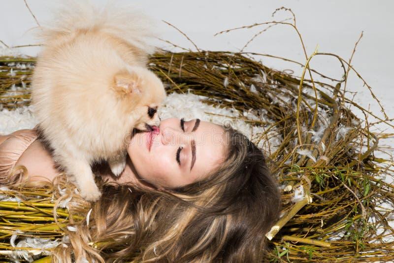 Sexy jong modelmeisje met perfect lichaam in modieuze kantlingerie die in een reusachtig nest, volledig van veer met hond liggen royalty-vrije stock afbeeldingen
