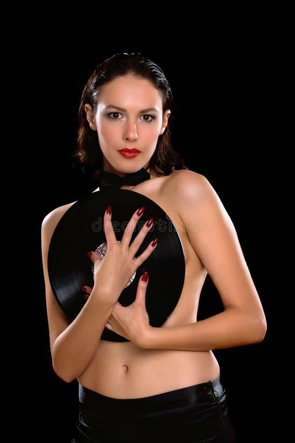 Sexy jonge donkerbruine topless met vinyl royalty-vrije stock foto's