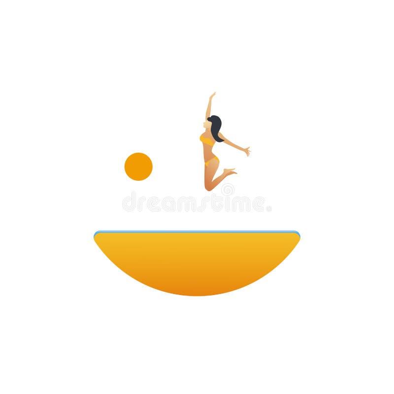 Sexy jonge vrouw in bikinisprongen over strand vectorbeeldverhaal Van de de zomervakantie of vakantie affiche, pamflet, vliegerma vector illustratie