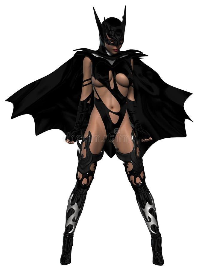 Sexy jonge vrouw die zwart kostuum dragen stock illustratie