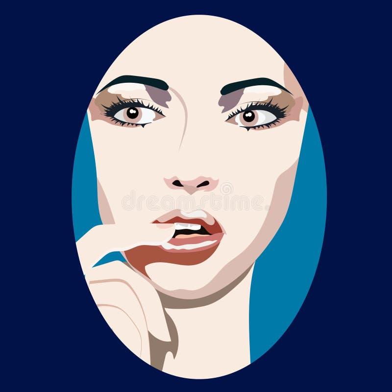 Sexy jonge vrouw met vinger in mond Vector illustratie stock illustratie