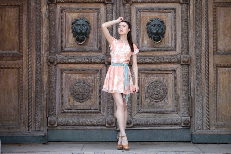 Sexy jonge vrouw in roze kleding stock fotografie
