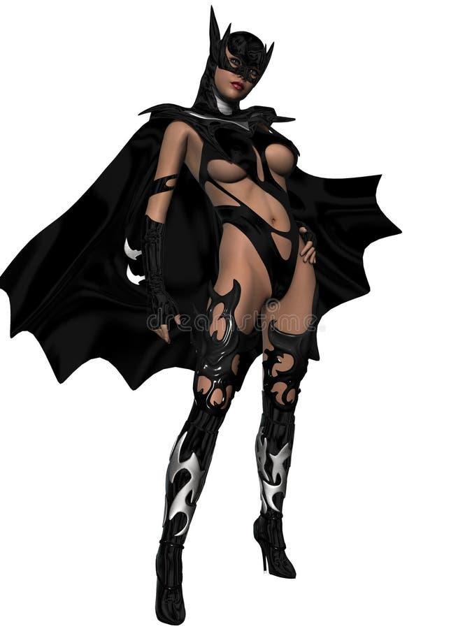 Sexy junge Frau, die schwarzen Anzug trägt lizenzfreie abbildung