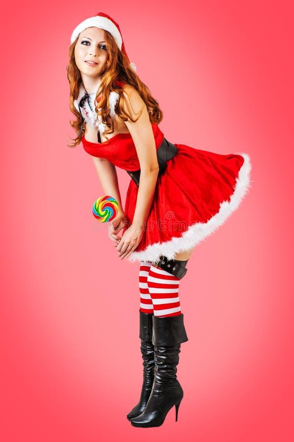 Sexy Kerstmis jonge volwassen vrouw royalty-vrije stock foto