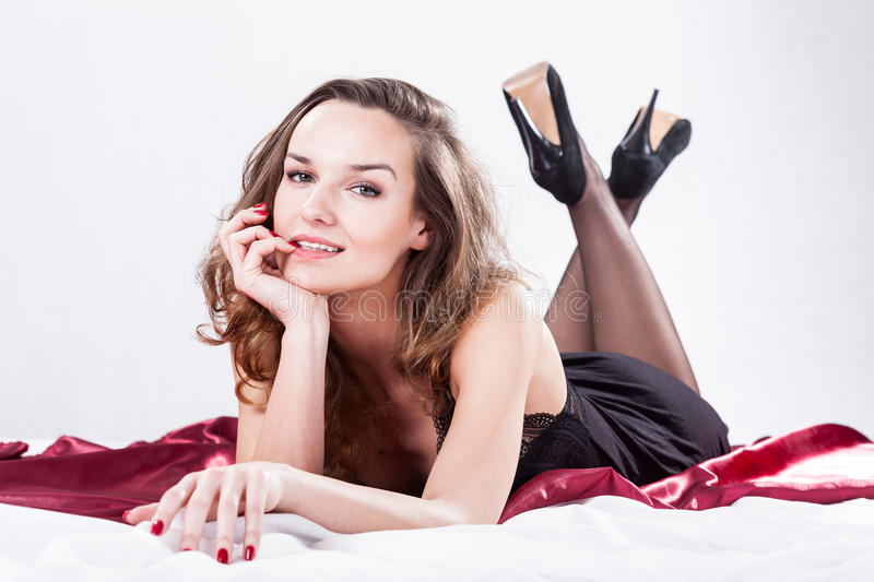 lady in bed royalty free stock photos