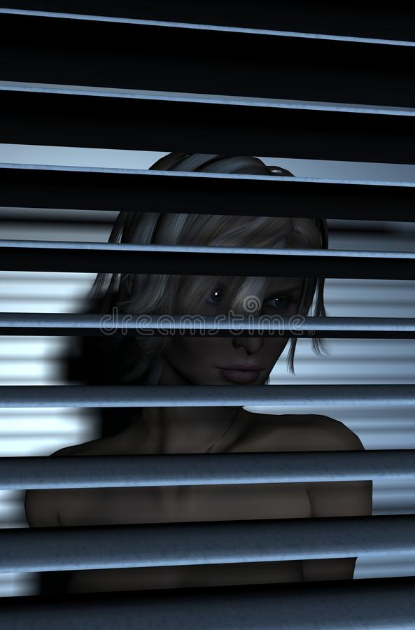 Lady behind blinds. A nude lady is behind the blinds looking out the window vector illustration