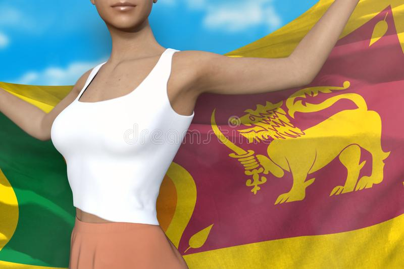 Beautiful woman in bright skirt holds Sri Lanka flag in hands behind her back on the cloudy sky background - flag concept 3d. Sexy lady in bright skirt is royalty free illustration