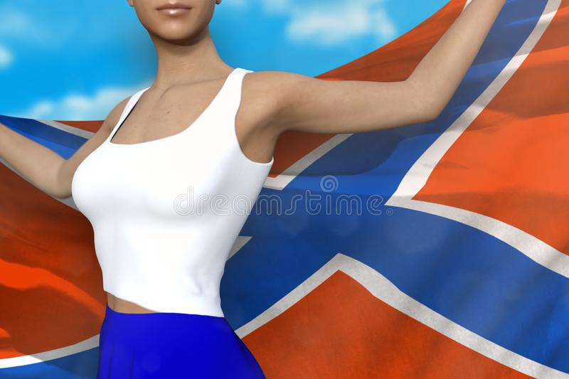 Sexy lady in bright skirt holds Novorossia flag in hands behind her back on the cloudy sky background - flag concept 3d. Young girl in bright skirt is holding vector illustration