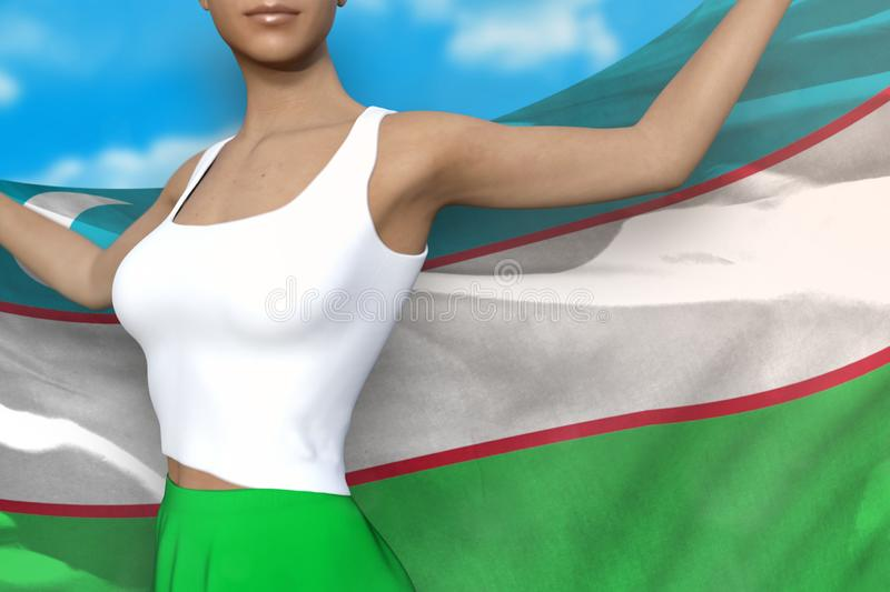 Sexy lady in bright skirt holds Uzbekistan flag in hands behind her back on the cloudy sky background - flag concept 3d. Beautiful girl in bright skirt is vector illustration