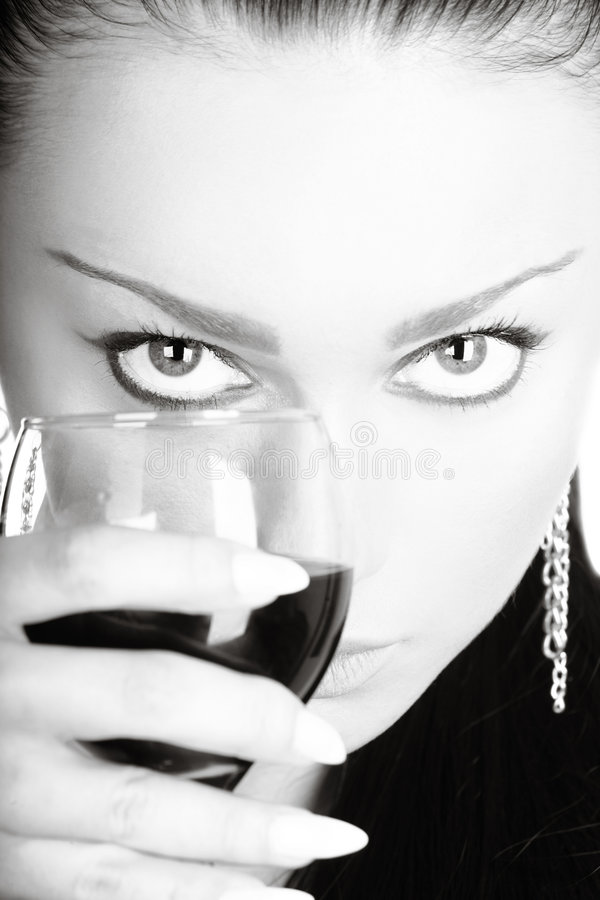 Download Lady With A Glass Of Red Wine Stock Photo - Image: 5822050
