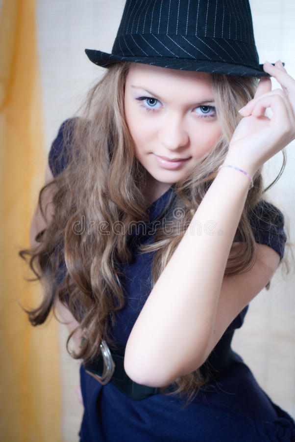 Download Lady with hat stock photo. Image of entertainment, face - 18556412