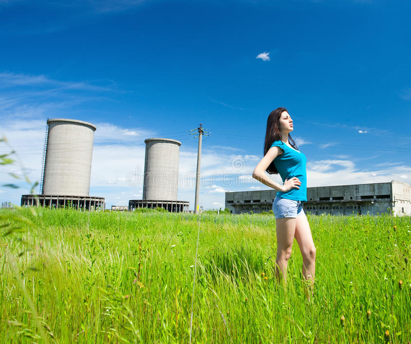 Download Lady In An Industrial Background Stock Photo - Image: 14624866