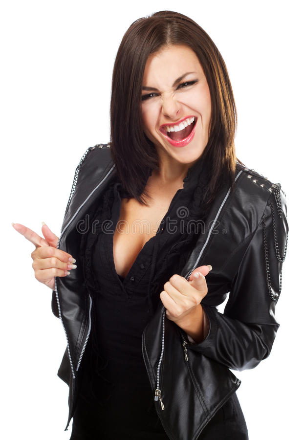 Download Lady in leather jacket stock image. Image of background - 21334755
