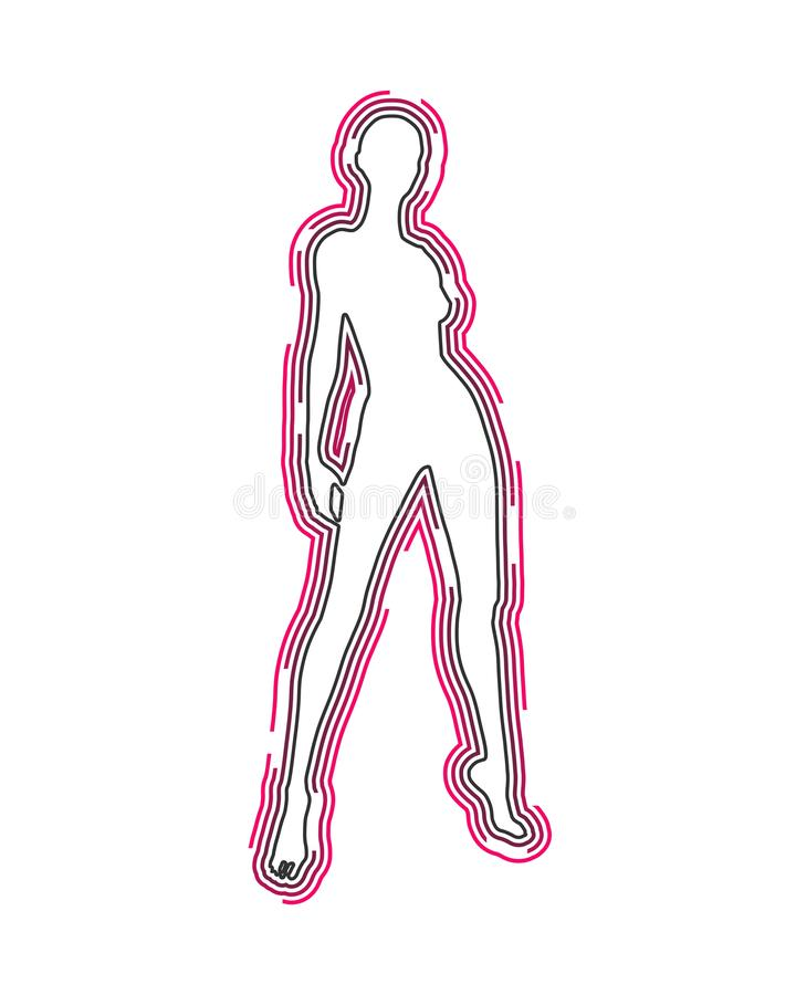 Lady silhouette. Woman silhouette. Female figure posing. Front view. Outline icon royalty free illustration