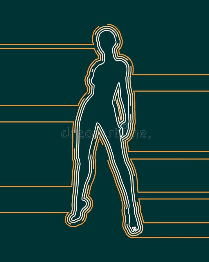 Lady silhouette. Woman silhouette. Female figure posing. Front view. Outline icon stock illustration