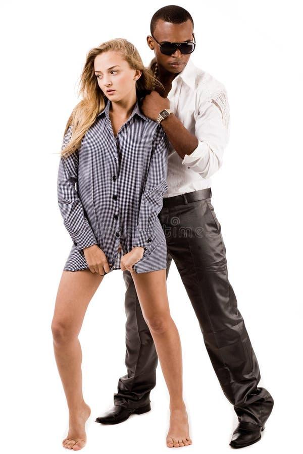 Sexy lady and stylish young black man