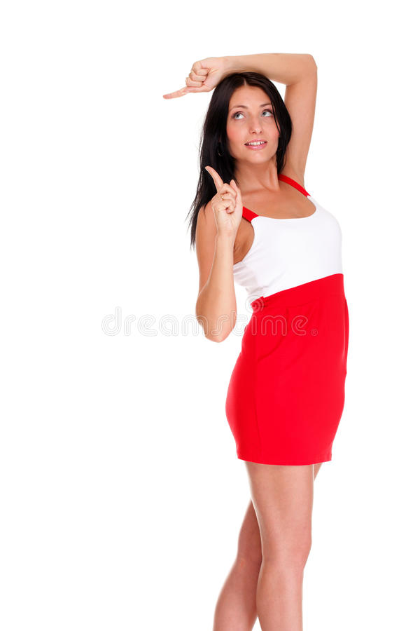 latin woman in short red hot dress stock photo