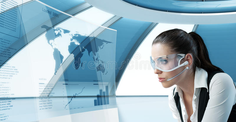 latina brunette in future glasses and headset royalty free stock images