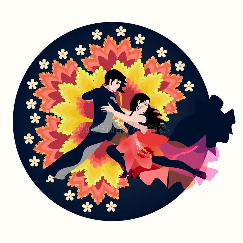 Sexy Latino couple dancing tango, salsa or samba against huge fantasy flowers jn dark blue round. Beautiful emblem. International Dance Day vector illustration